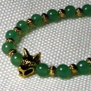 Jewelry - Green Aventurine & Golden Wolf Bracelet